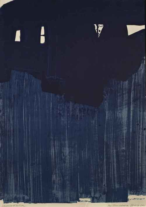 Black + navy goodness   Pierre Soulages.