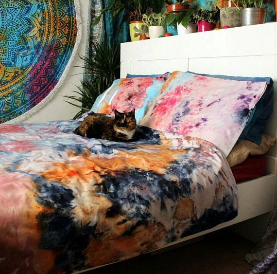 Luxury Cotton Tie Dye Duvet Cover And Pillow Cases Etsy Tie Dye Duvet Tie Dye Duvet Cover Duvet Covers