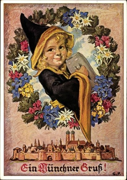 Künstler Ansichtskarte / Postkarte München Bayern, Stadt, Frauenkirche, Münchner Kindl, Bierkrug   akpool.de