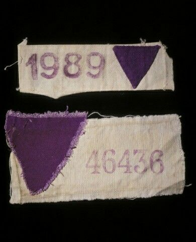 Purple triangle jehovahs witnesses wore these at the concentration camps               Purple triangle