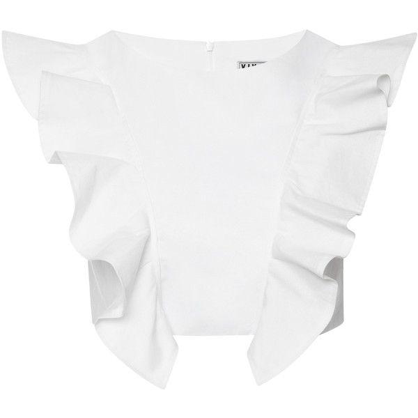 Viva Aviva Magnolia Ruffled Cropped Top ($125) ❤ liked on Polyvore featuring tops, sleeveless tops, frill top, frilly tops, frill crop top and crop top