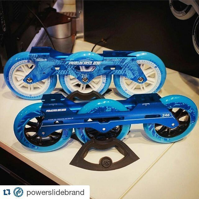 #Repost @powerslidebrand with @repostapp ・・・ 3x125 or 3x110?  We presented some new fresh colors of our most popular frames at the #ispo2016 more Infos soon #triskates #powerslide #3x125 #3x110 @ucwheels #patines #freeskate #fsk #welovetoskate