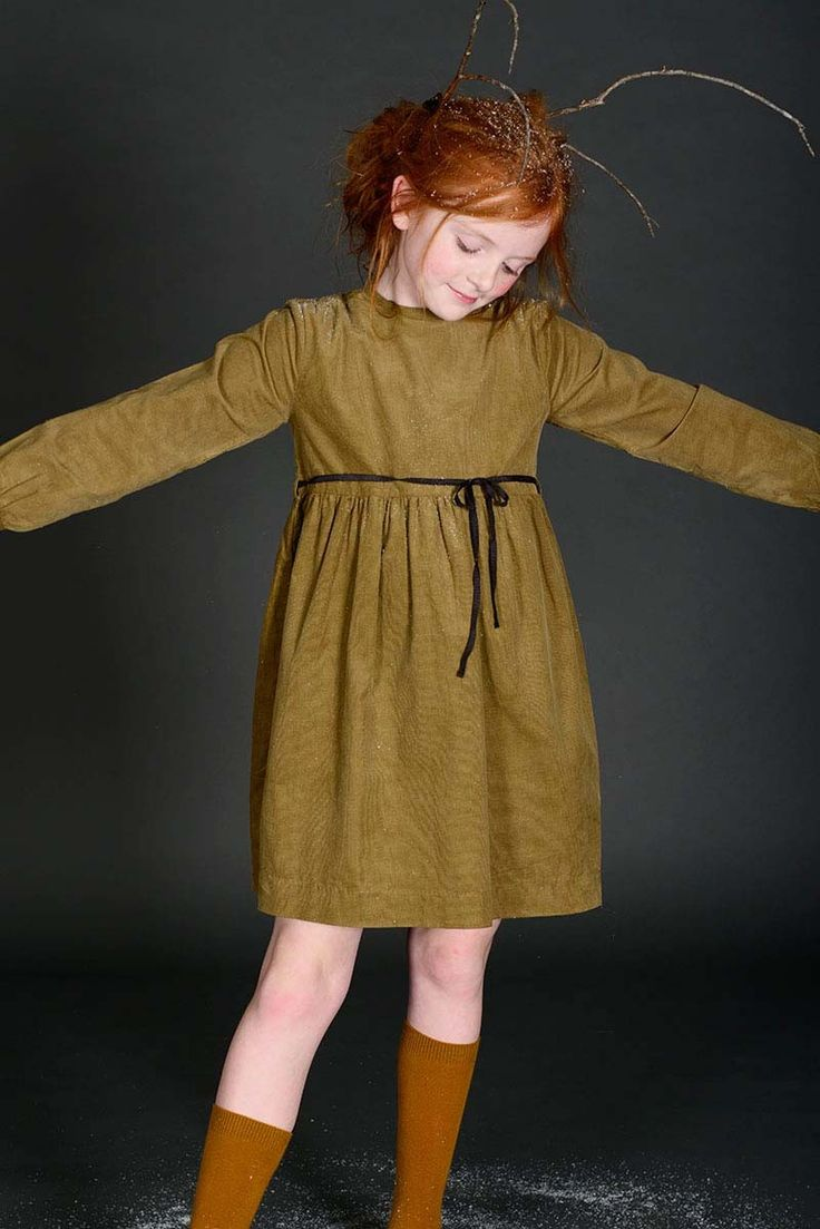 Long sleeve corduroy dress for toddlers