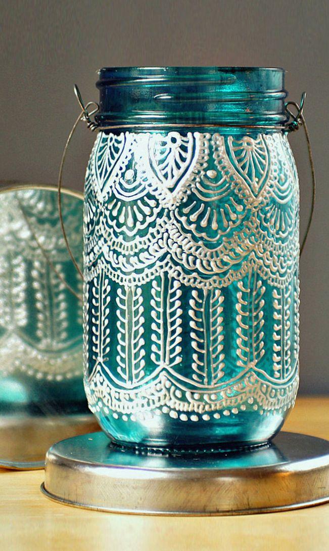 Lace henna mason jar lantern // DIY idea? #product_design