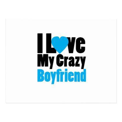 Couple matching I Love My Crazy Boyfriend Postcard - Saint Valentine's Day gift idea couple love girlfriend boyfriend design