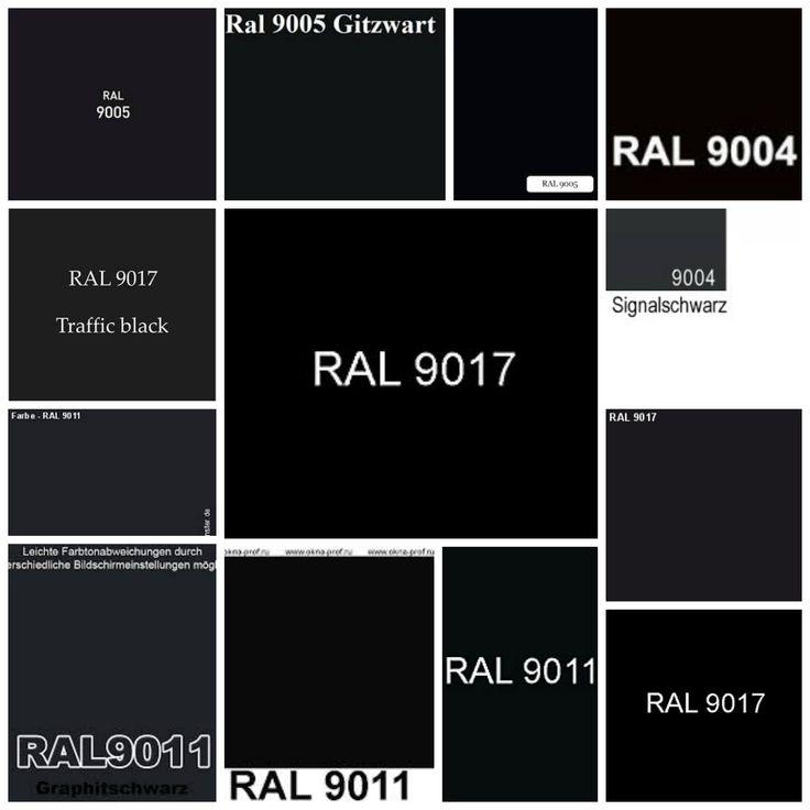 Driebrandzwart (lijnolie) ACC code: T4.03.09 NCS code: S8701-R85B RAL code: 9011 (grafietzwart). Driebrandzwart (standolie) ACC code: UN.00.07 of DN.00.09 NCS code: 8800-N RAL code: 9017 (verkeerszwart).                            IJzeroxide zwart (lijnolie) ACC code: XN.01.06 NCS code: S85.02-B of 8801-R51B RAL code: 9004 (signaalzwart).                                                   IJzeroxide zwart (standolie) ACC code: UN.00.07 NCS code: 9001-R96B of S9000-N RAL code: 9005 (gitzwart).