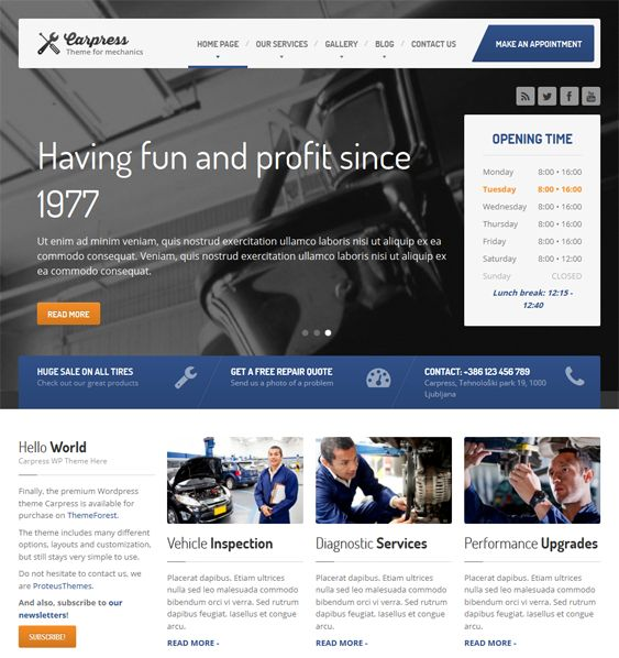 This WordPress theme for car mechanics features a responsive design, WooCommerce compatibility, unlimited colors, WPML support, Bootstrap integration, a live theme customizer, and more.