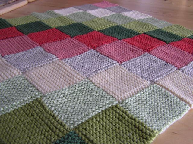 Garter stitch squares alternating knitted blanket