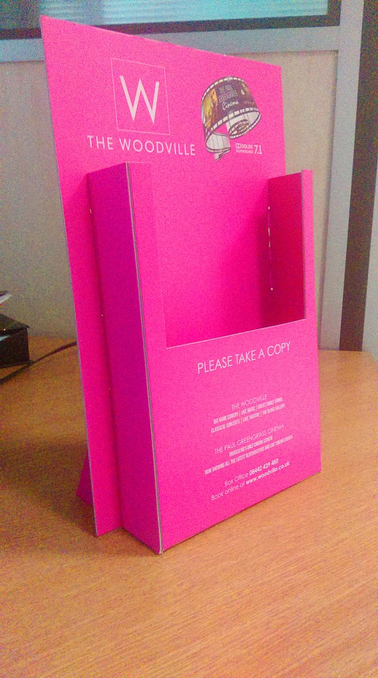 Amazing PINK leaflet dispenser for The Woodville Civic Centre! Digitally printed both sides in vibrant magenta to give a fantastic finish! Find more creative counter top unit designs at www.kentoninstore.co.uk