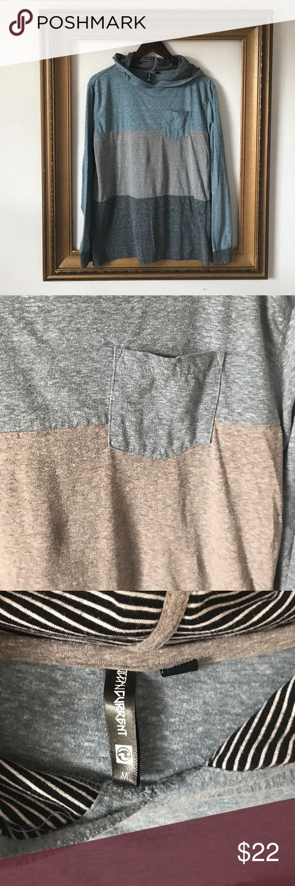 Ocean Current color block gray and blue hoodie, M Gently used. Soft. Lightweight. Comfy casual. Ocean Current Shirts Sweatshirts & Hoodies