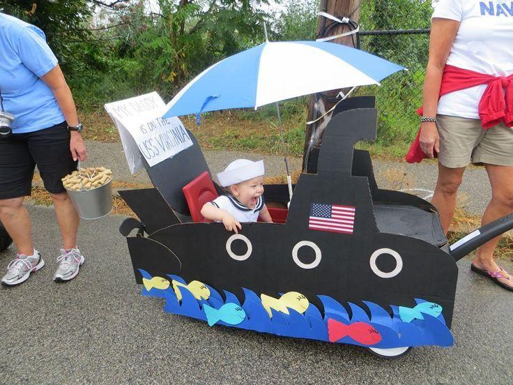Submarine float, wagon Labor Day Parade! | Decorated wagon ideas | Pi…