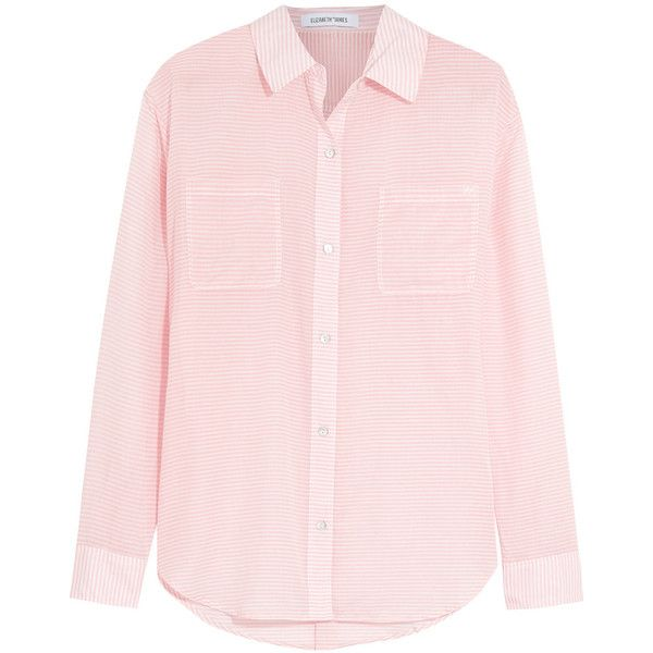 Elizabeth and James Emmanuel striped cotton shirt ($175) ❤ liked on Polyvore featuring tops, baby pink, pink striped top, striped top, loose fitting tops, loose fit tops and stretch shirt
