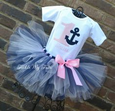 Anchor Themed Light Pink and Navy Birthday Tutu Outfit, Nautical Birthday Tutu, First Birthday Anchor Party, Birthday Anchor Nautical Theme