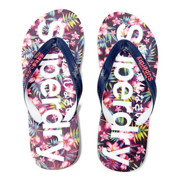 Superdry Women's Flip Flops - Eclipse Navy/Fluro Pink ($15) ❤ liked on Polyvore featuring shoes, sandals, flip flops, navy, navy sandals, floral shoes, navy blue strappy sandals, floral sandals and navy blue sandals