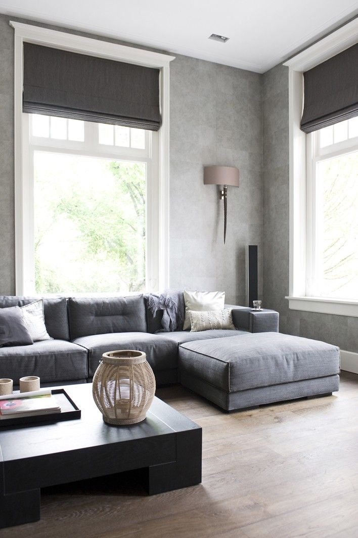 I Like The Cozy Couch .dark Grey Roman Shades For The Home.w/curtains About  Same Color As Wall