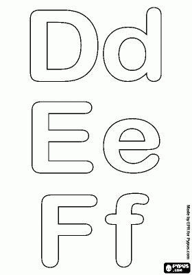 Letters D, E and F of the bubble alphabet coloring page