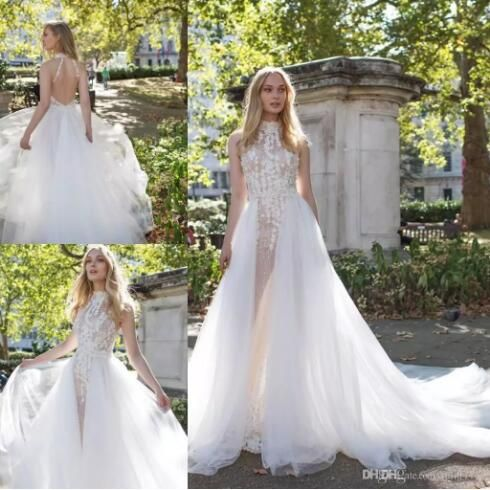 2017 Vintage Illusion Wedding Dresses High Neck Sleeveless Backless With Detachable Train Wedding Dress 3D Flower Pearls Bridal Gowns