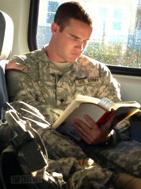 Military men reading... something about a man in uniform reading a book!!!!