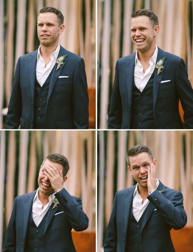 love this groom's reaction to seeing his bride for the first time!