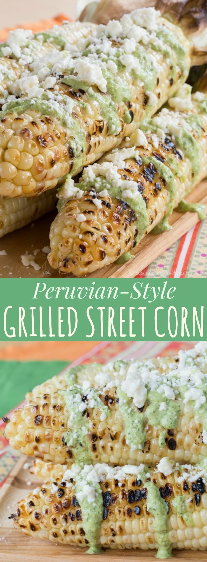 Peruvian-Style Grilled Street Corn - corn on the cob slathered with fresh and spicy Aji sauce and cheese is an easy summer side dish recipe! Gluten free