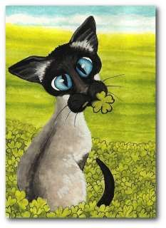 Siamese Cat Four Leaf Clover St Patricks Day Holiday FuN ArT LE Print
