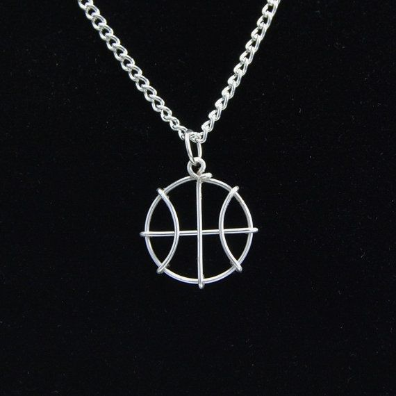 Silver Basketball Pendant basketball necklace by ChristiqueDesigns #basketball #jewelry #silver #handmade #sports #gift #diy #etsy #shop #girl's #women's #cute