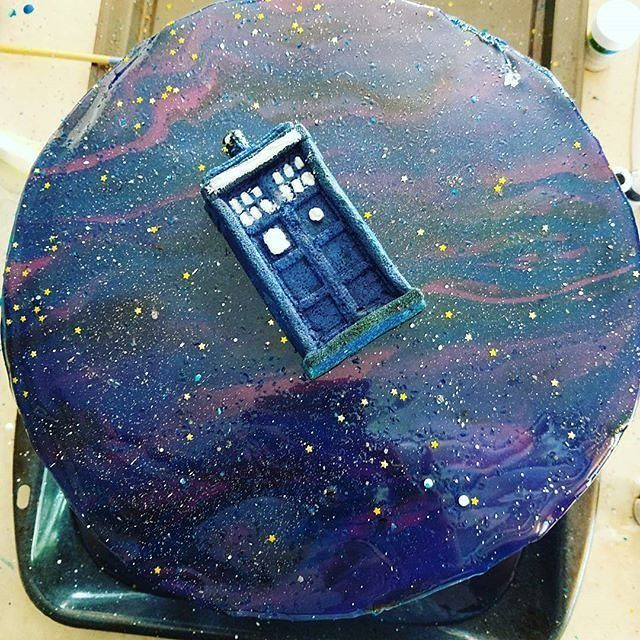 """""""Wow, @mrs.kinger, this cake is amazing! 12/12, would eat while traveling through all of time and space."""" Doctor Who cake"""
