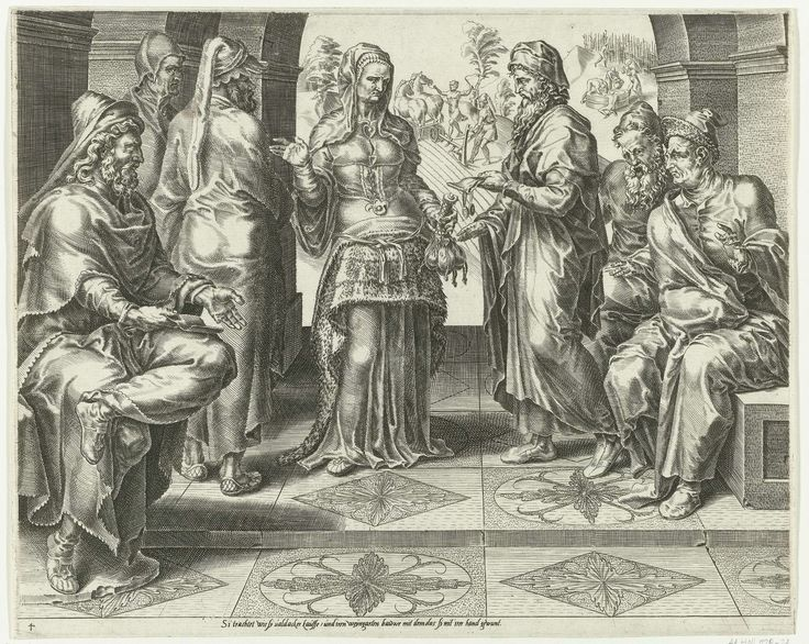 De Deugdzame vrouw koopt een akker, Dirck Volckertsz Coornhert, Maarten van Heemskerck, Cornelis Bos, 1555