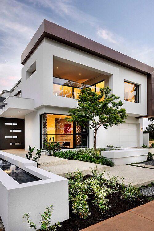 ... Brown Neaves Architecture Exterior Design Facade Tree Green Rectangular  Garage Multi Level Floreat Australia White White Walls Residence   Dream  Homes
