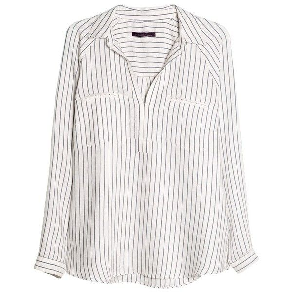 Violeta by Mango Raglan Sleeve Striped Blouse (210 BRL) ❤ liked on Polyvore featuring tops, blouses, shirts, long sleeves, bright blue, collared shirt, v neck long sleeve shirt, white long sleeve blouse, long sleeve collared shirt and white collar shirt