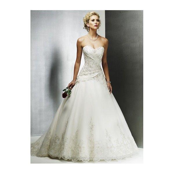 Beaded Applique Sweetheart  Scalloped Ball Gown Satin TulleWedding Dress