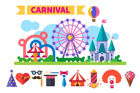Carnival in amusement park by TastyVector on Creative Market