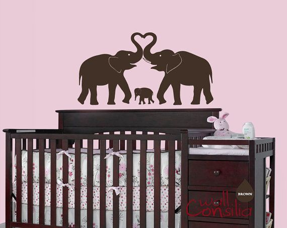 "Baby Nursery Wall Decal - Elephant Wall Decal - Elephant Heart Decal - Nursery Wall Sticker - Large: 24"" high and 42"" wide. $34.00, via Etsy."