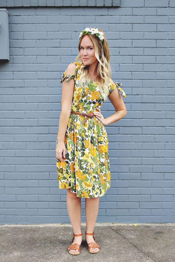 Green, yellow, orange vintage dress