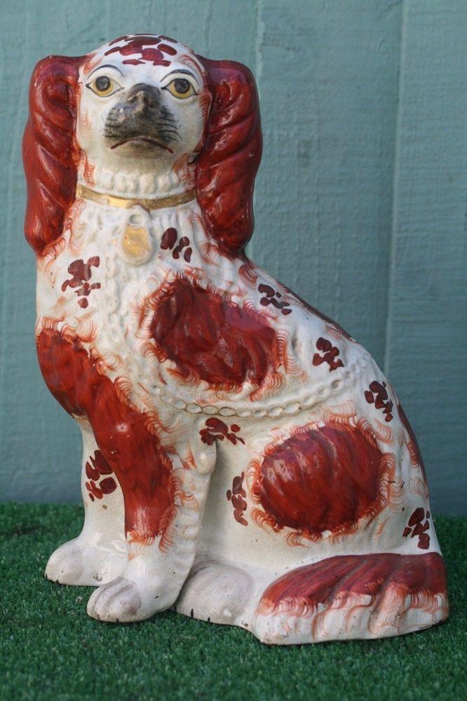Staffordshire Black White Spaniel Dog Figurine Rare