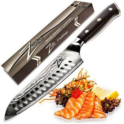 ZELITE INFINITY Santoku Knife 7 Inch. Best Quality Japanese VG10 Super Steel 67 Layer High Carbon Stainless Steel - Razor Sharp, Superb Edge Retention, Stain & Corrosion Resistant! Ideal Gift
