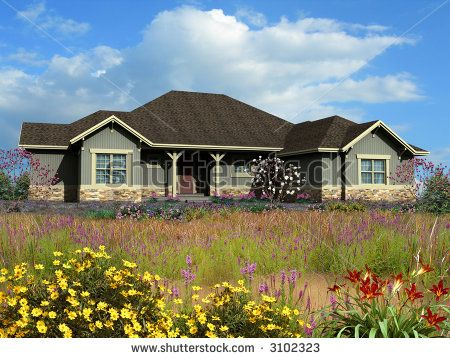 3d model of gray siding ranch house photo matched on