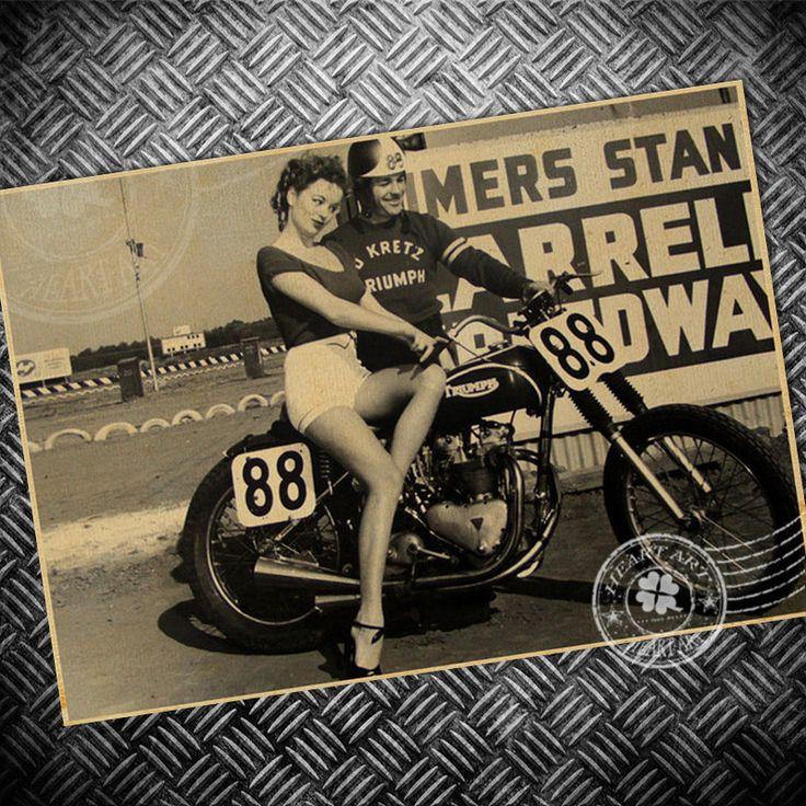 Старая фотография мотоцикл sexy lady Vintage Крафт-Бумага Плакат Ретро печати живопись Стикер Стены Гостиная Бар фото 42 х 30 см