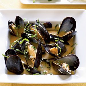 coconut and basil steamed mussels (with a few substitutions - fresh garlic for bottled, chicken broth for water, white wine for chicken broth)