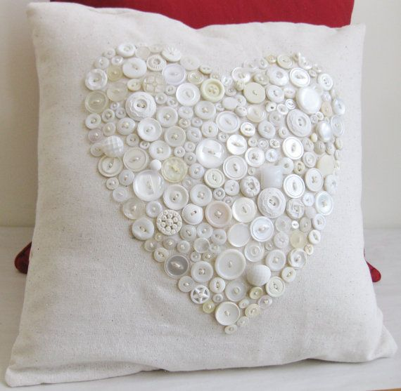 Home Decor Pillow with Vintage Buttons, Heart Pattern 16x16, Off White