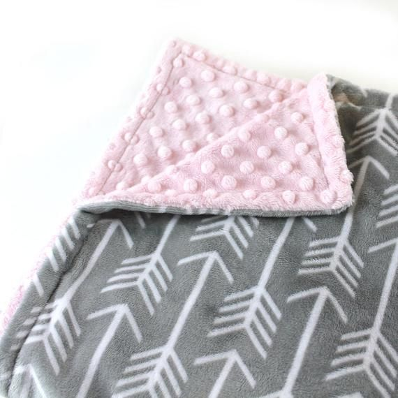 Personalized Minky Birth Baby Blanket Pink and Gray Arrow