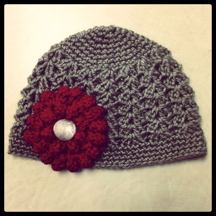 Crochet Zinnia Flower Pattern : Crochet baby beanie with crochet zinnia flower The ...
