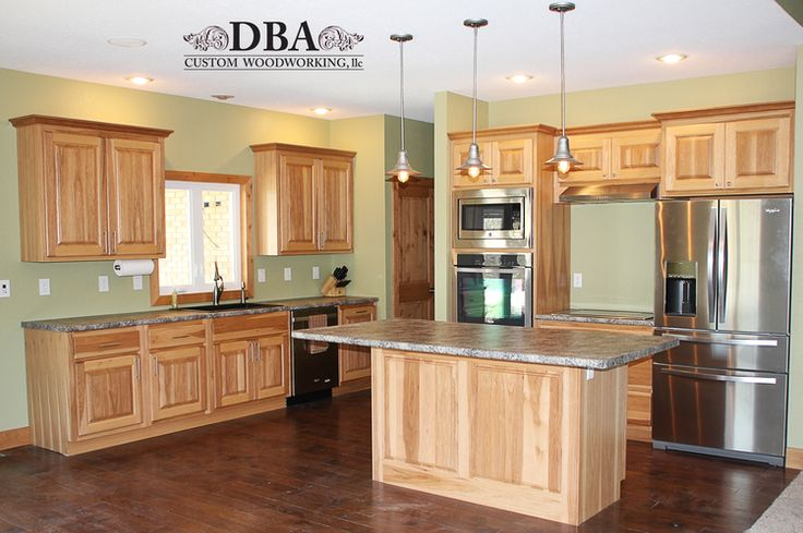 Custom-built hickory kitchen cabinets © DBA Custom Woodworking
