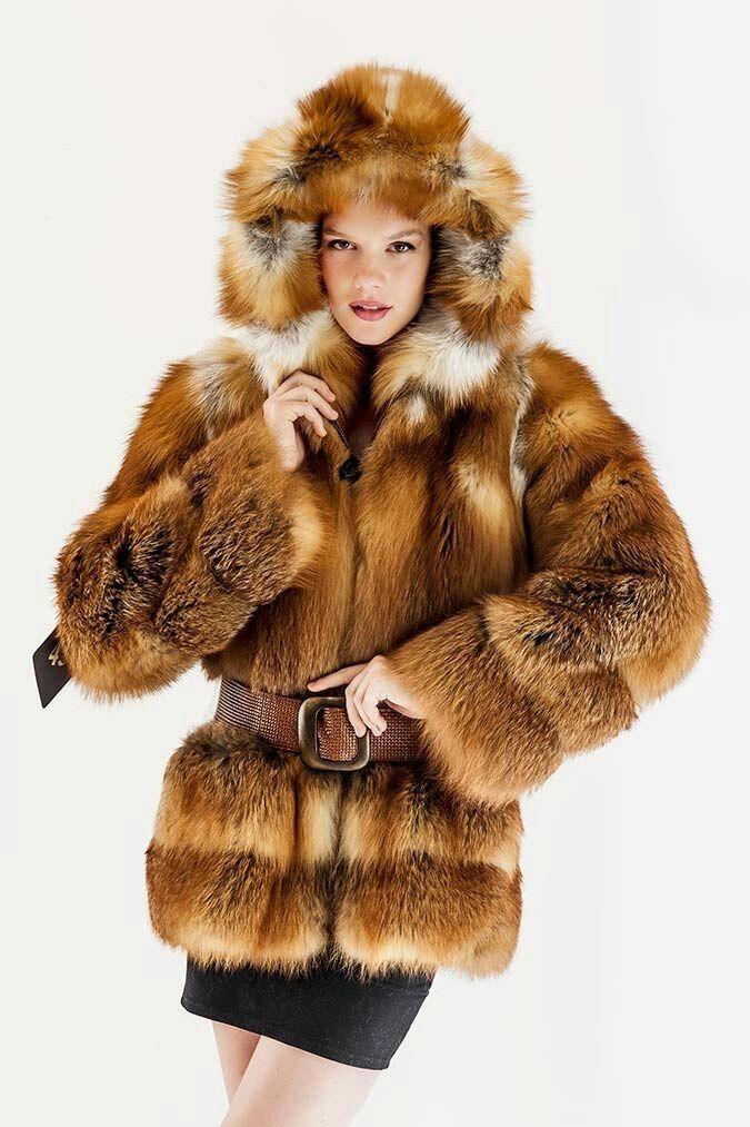 Red fox fur hoody