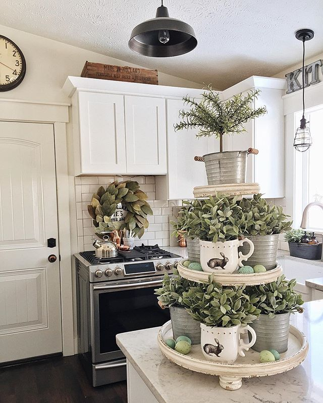 My three tiered tray from @paintedfox1 got all Easter-ed out with some mugs from @marshalls, pots from @michaelsstores, eggs from @worldmarket, & some greenery from @ikeausa. Hope you are all having a beautiful Sunday! #LMBhome