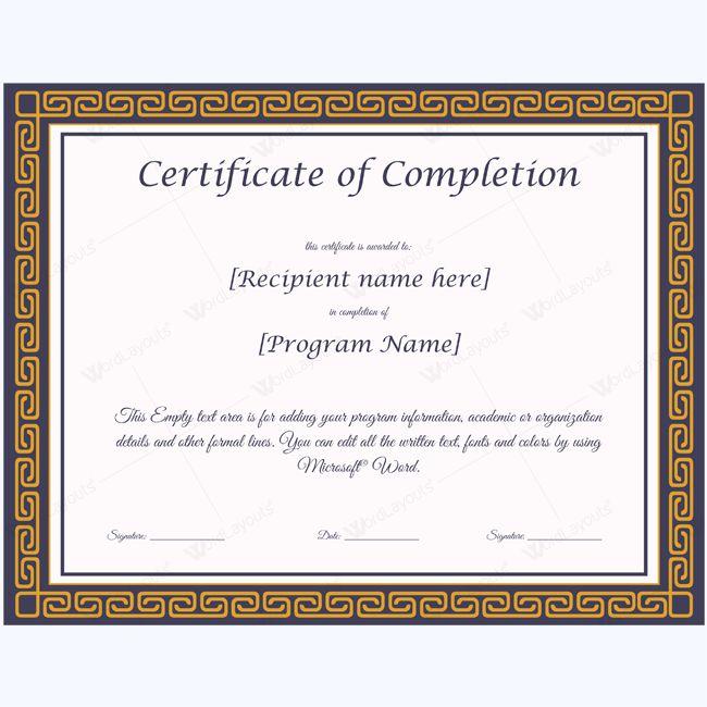 Pinterestu0027teki 25u0027den fazla en iyi Certificate of completion - free certificate of completion template
