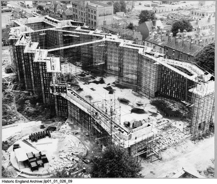 JLP01/01/026/09 View taken from the tower of the old Cathedral showing Coventry Cathedral under construction. 6th August 1958. This image was catalogued in 2013 as part of a pilot project funded by the John Laing Charitable Trust. Click for more information or to search the collection.