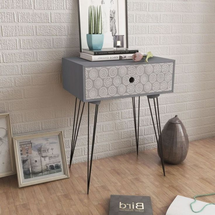 Modern Nightstand Cabinet Tea Side Table With Drawer Retro Decor Furniture Grey  #ModernNightstandCabinet #Modern