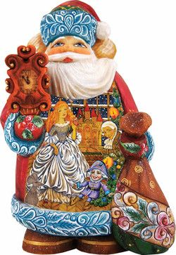 Artistic Wood Carved Santa Claus Nutcracker Sculpture traditional-holiday-accents-and-figurines