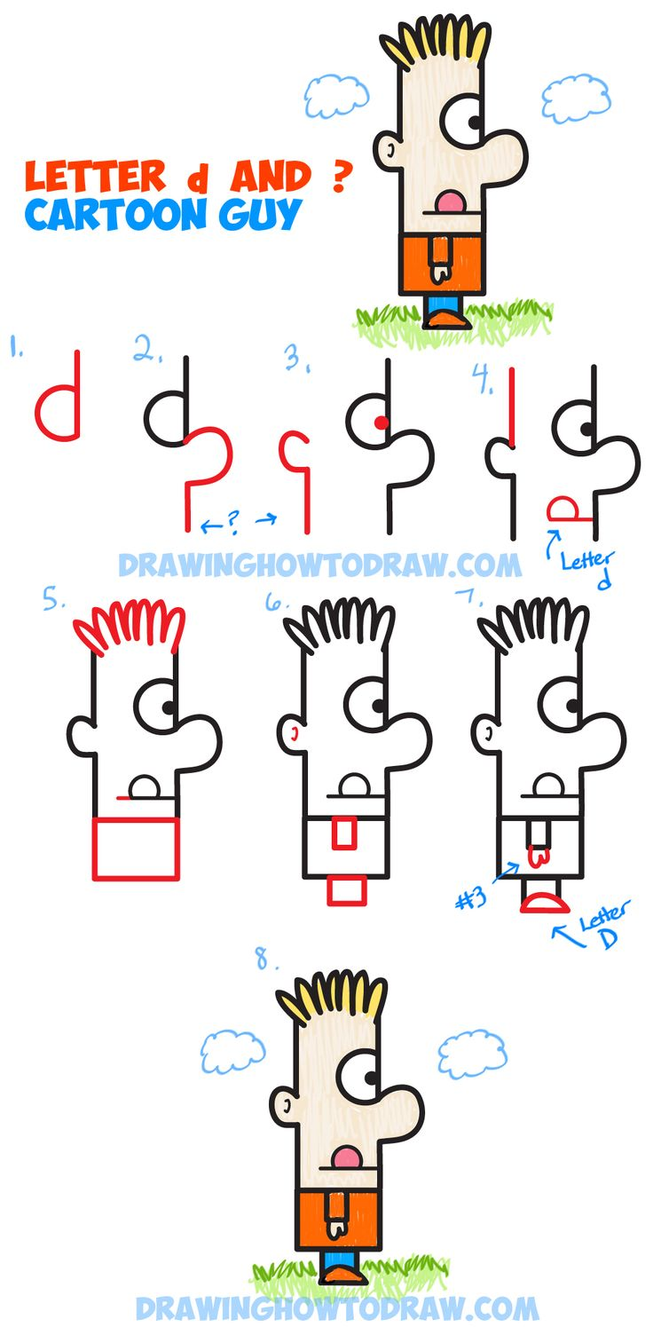 Learn How To Draw A Cartoon Guy From A Letter D And Question Mark : Easy